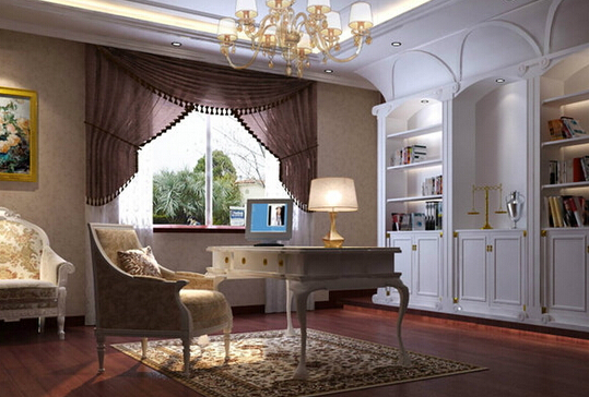 欧式书房设计效果图5   书房白色调的书柜,给人一种欧式的典雅