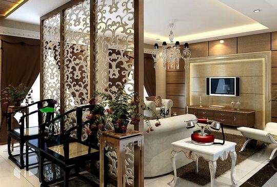 镂空雕花隔断效果图 镂空雕花隔断效果图3 客厅屏风后面放置两相小椅子作为临时休息处。而镂空雕花隔断的选择,让两个空间都给人呈现出一种精致典雅的感觉。