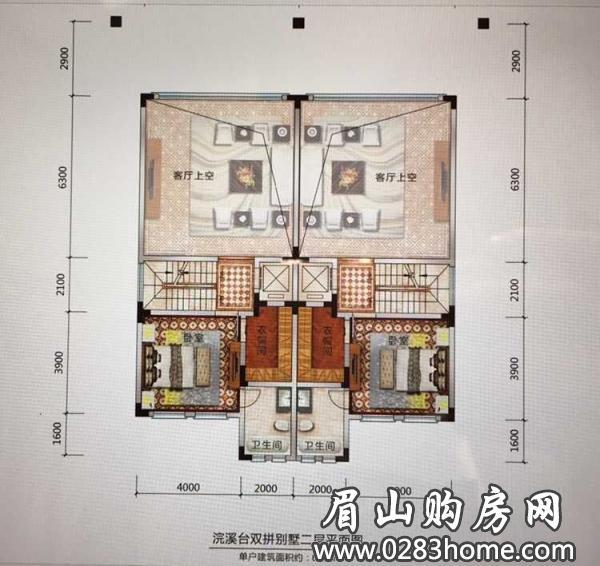 阳光1519浣溪台双拼别墅二层平面图_阳光1519户型展示